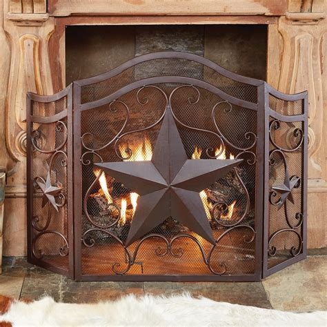 lone star scroll fireplace screen