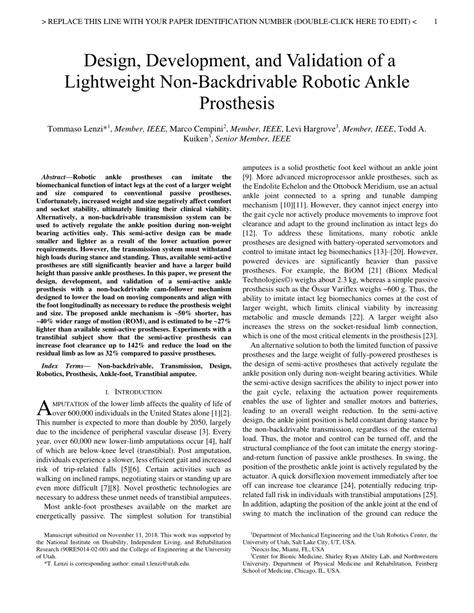 (PDF) Design, Development, and Validation of a Lightweight