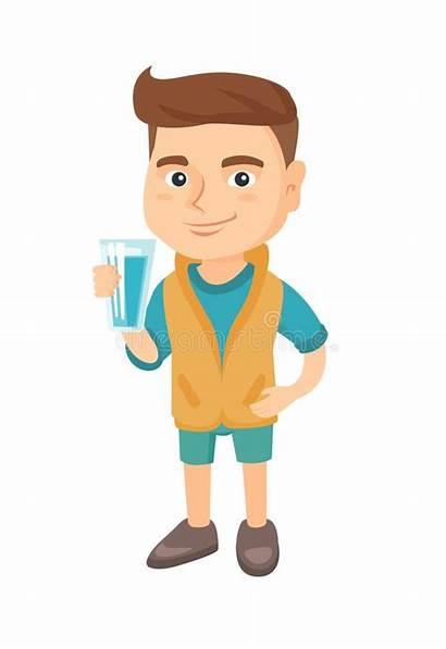 Water Boy Glass Holding Drinking Cartoon Caucasian