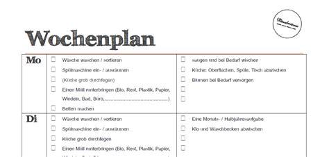 Putzplan Für Die Wohnung by Putzplan Wochenplan Todo Liste Zum H 228 Welm 228 Use