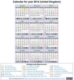 Time and Date Calendar 2014
