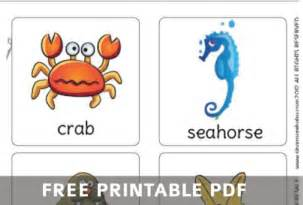 free printable sea creatures flashcards