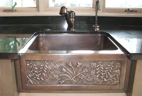 copper apron sink chameleon bronze farmhouse sink artisan crafted home