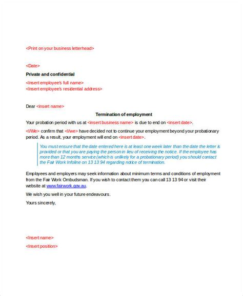 Employment Probation Letter Template by Letter Of Employment With Probationary Period