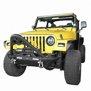 Stinger Bar Front Bumper W  Winch Plate  U0026 Led Light For 87