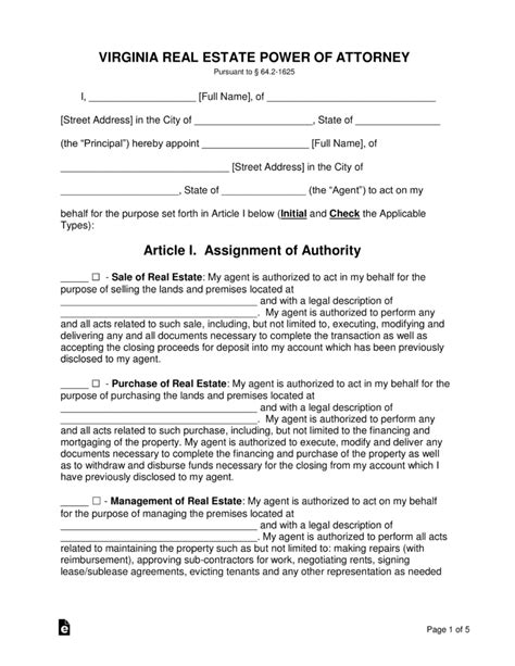 virginia power of attorney form pdf free virginia real estate power of attorney form word