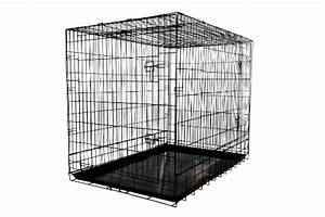 allmax 3 door folding metal dog crate with steel tray With large steel dog crate