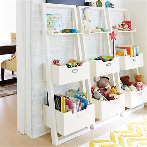 Child Bookcase Storage by Sloane Leaning Bookcase White Rec