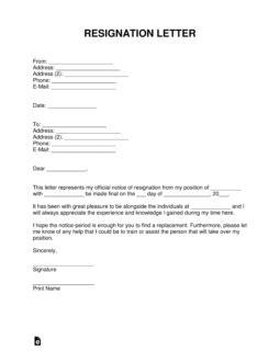 Free Resignation Letter Templates - Samples and Examples