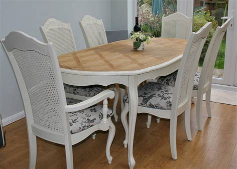 stunning shabby chic bergere table and 6 chairs