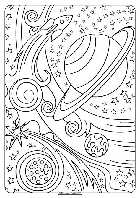 printable rocket  planets  coloring page
