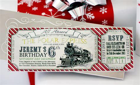 polar express birthday invitation red