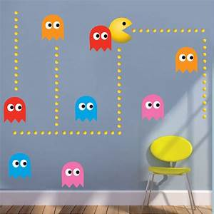 modern pac man wall decal video game wall decal murals With pacman wall decals gamers room ideas