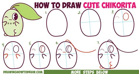 draw cute kawaii chibi chikorita  pokemon