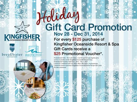 xmas gift card promotion kingfisher gift certificates kingfisher oceanside resort and spa courtenay comox