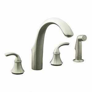 shop kohler forte vibrant brushed nickel 2 handle high arc With brushed nickel kitchen faucets