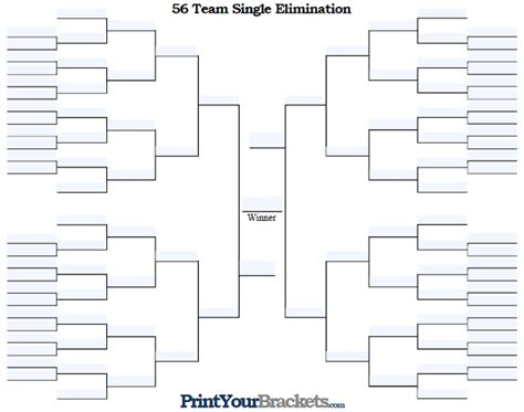 Tournament Bracket Editable Template by Fillable 56 Team Tourney Bracket Editable Bracket