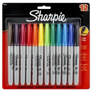 Sanford Sharpie Permanent Marker, Fine Point, Assorted, 12 ...