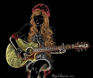 Gallery: Drawing Of A Girl With Guitar, - DRAWING ART GALLERY