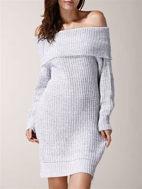 2018 chic low cut the shoulder solid color sleeve sweater dress for light gray