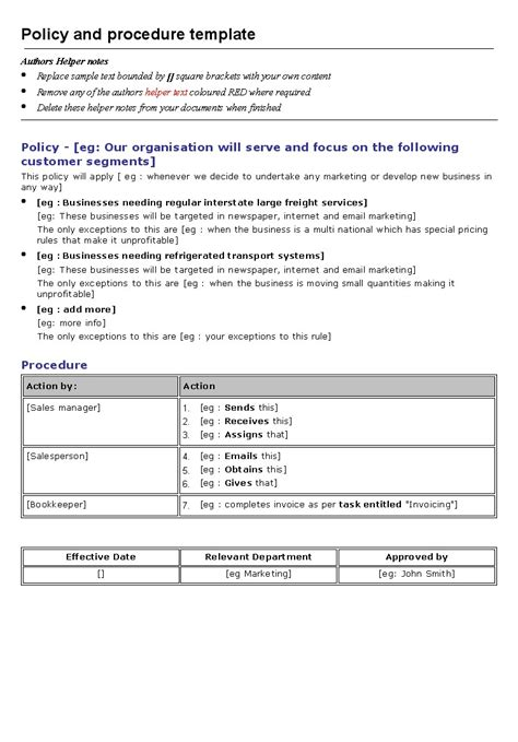 Work Procedures Template by Policy And Procedure Template Word