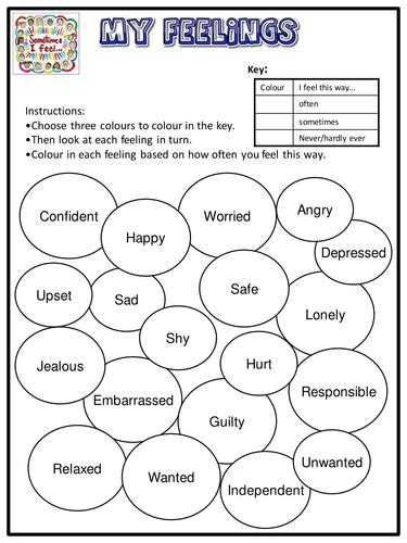 feelings worksheets for middle school search