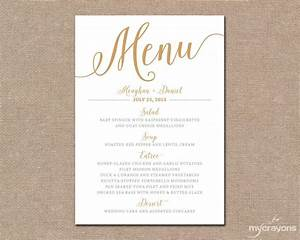 gold wedding menu card printable wedding menu bella With free printable wedding menu card templates