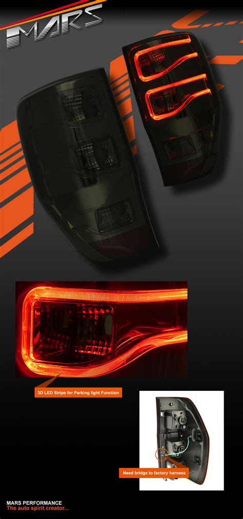 smoked black  stripe bar led tail lights  ford ranger