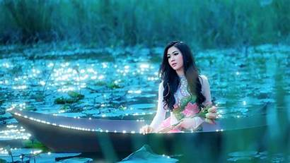 Asian Lotus Lake Boat Wallpapers Google Dios