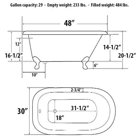 Clawfoot Tub Sizes by Traditional Style Cast Iron Clawfoot Bathtubs