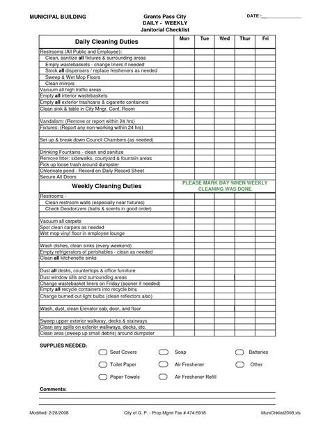 Daycare Cleaning Checklist Template