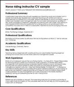 resume summary of qualifications management horse riding instructor cv sle myperfectcv