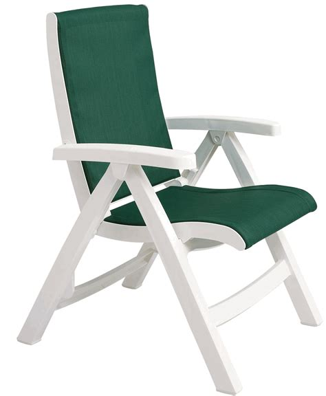 green grosfillex jersey midback folding sling chair