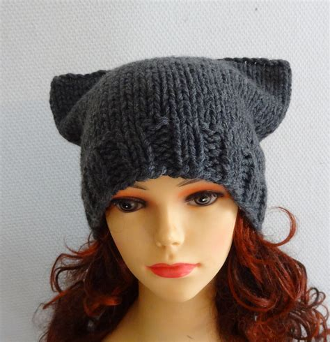 cat ears hat cat beanie chunky knit winter accessories by