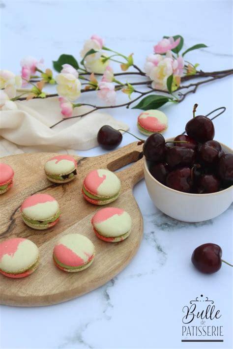 recette macaron pistache cerise insert cerises  creme
