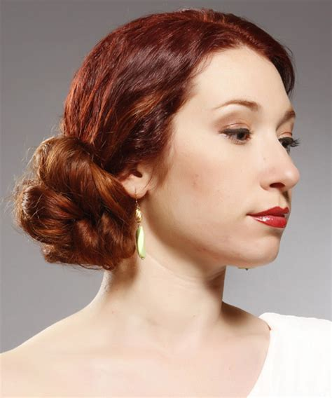 New Hairstyle by Formal Curly Updo Hairstyle Bright Hair Color
