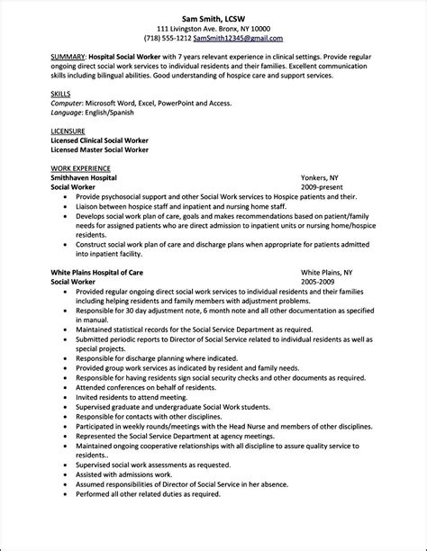 curriculum vitae template for social workers free
