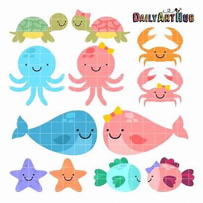Sea Animals Clip Creatures Cartoons Cliparts Hub