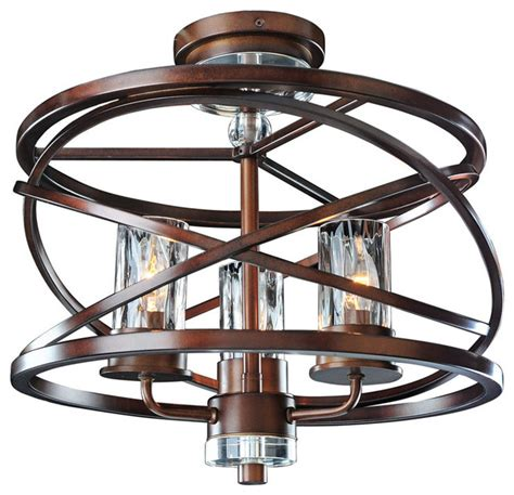kalco eternity 3 light semi flush modern ceiling