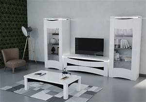 Meuble Tv Vitrine : vitrine meuble tv laqu blanc vela design moderne pas cher ~ Teatrodelosmanantiales.com Idées de Décoration