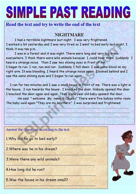 Simple Past Tense Reading  Esl Worksheet By Victoryturk1