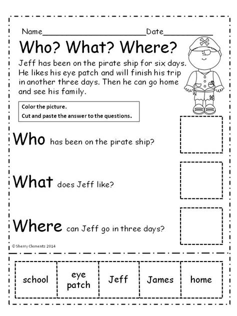 Pirates Who? What? Where? Reading Comprehension (cut And Paste)  1st Grade Activities