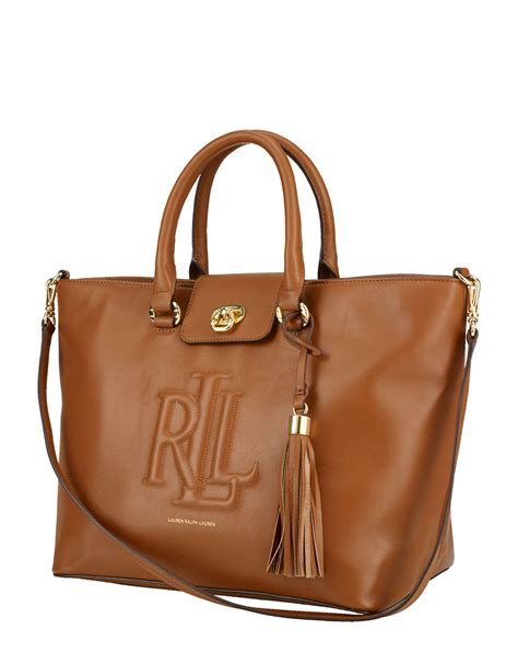 lauren  ralph lauren convertible leather tote bag  brown lyst