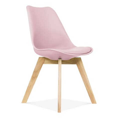 chaise design polycarbonate transparent pastel pink dining chair oak crossed wood legs cult furniture uk