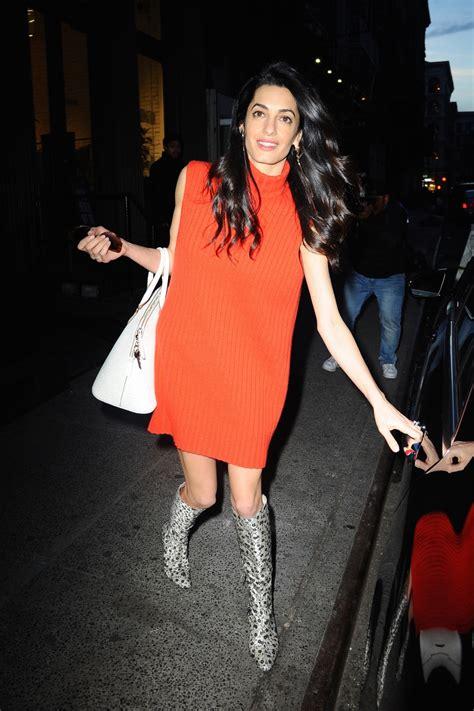 robe orange les  beaux  damal clooney elle