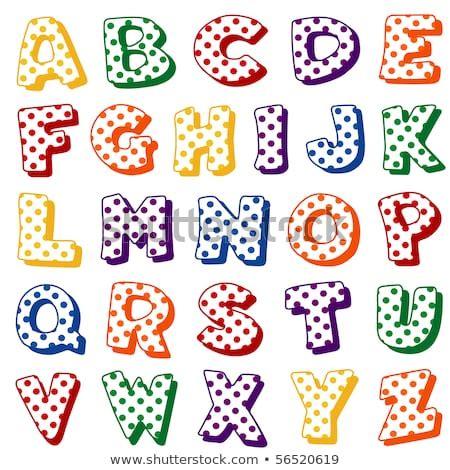 alphabet polka dots original letter design stock