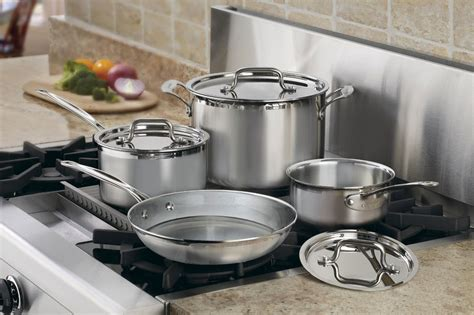 cuisinart multiclad pro stainless steel signature cookware set  piece cutlery