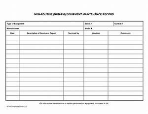 Equipment Maintenance List - Sample Templates