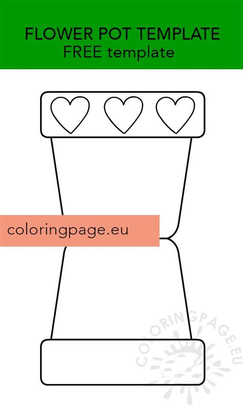 flower pot template  coloring page