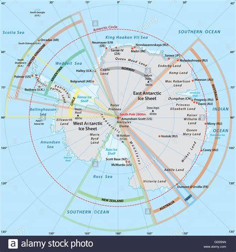 political map  antarctica   territory claims